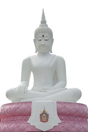 White  buddha statue on white background  Stock Photo