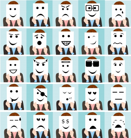 set cute people holding emoticon sign collection Illustration
