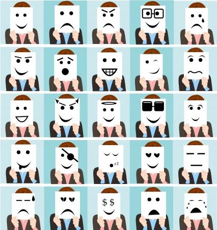set leuke mensen die emoticon teken collectie Stock Illustratie