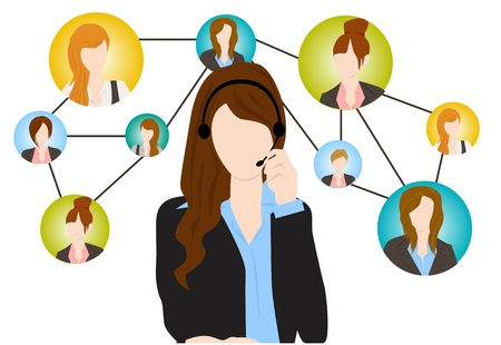 business woman phone: social communication