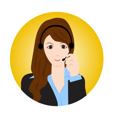 call center female: woman customer service