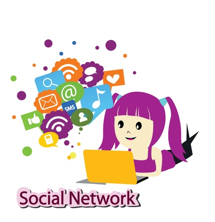 social work: girl with social media