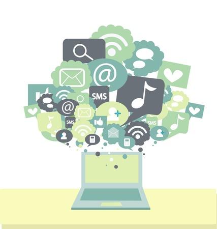 social network: social media signs Illustration