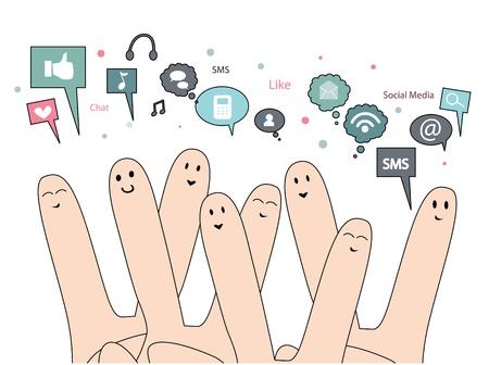 gelukkige vingers met sociale media