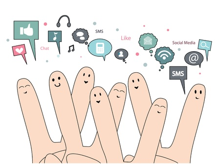information medium: happy fingers with social media Illustration