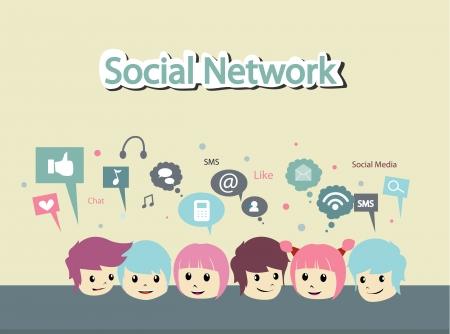 mensen met een sociaal netwerk Stock Illustratie
