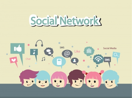 people with social network Vector