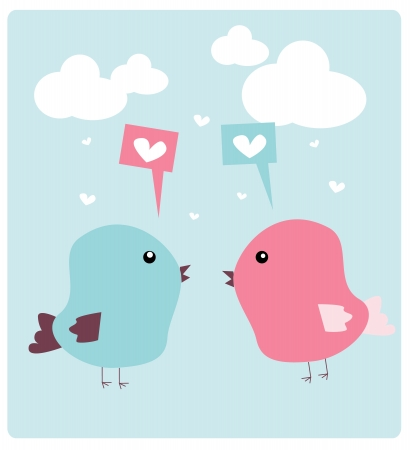 sweet bird couple Vector