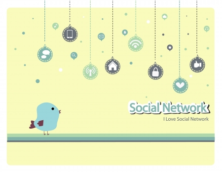 social media - social network - bird Vector