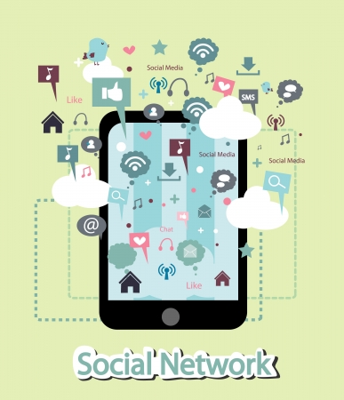 social system: phone and social network facility Illustration