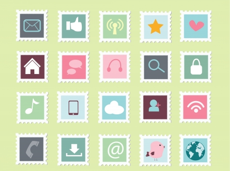set of social media postage stamp icon collection Vector