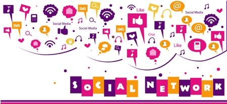 컬러 풀 한 소셜 네트워크 개념 일러스트