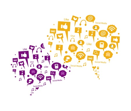 computer networking: purple and orange speech bubble Illustration
