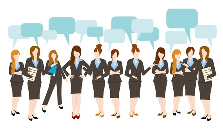 business networking: business woman speech bubble