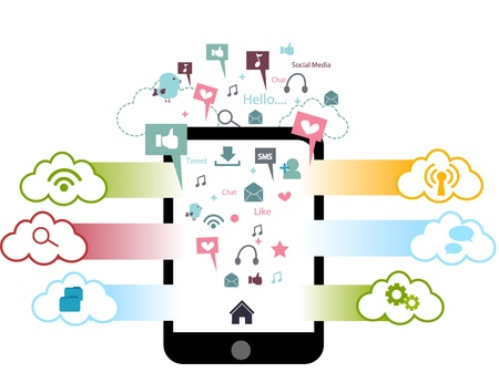 sociale media - sociaal netwerk - concept - telefoon Stock Illustratie
