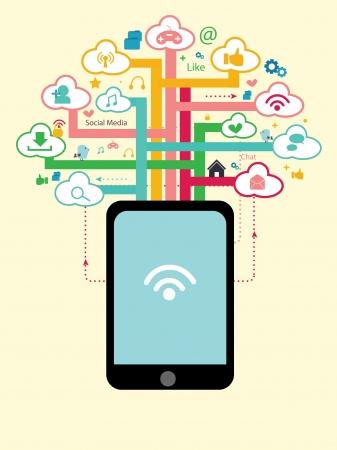 árbol concepto de red social Ilustración de vector