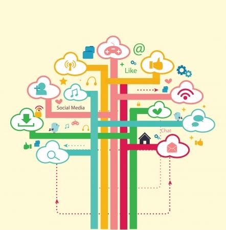 boom sociaal netwerk Stock Illustratie