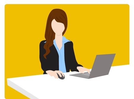 business woman working in the office Illustration