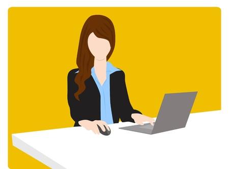 mujer desnuda sentada: mujer de negocios trabajando en la oficina Vectores