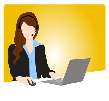 call center office: customer service woman communication Illustration