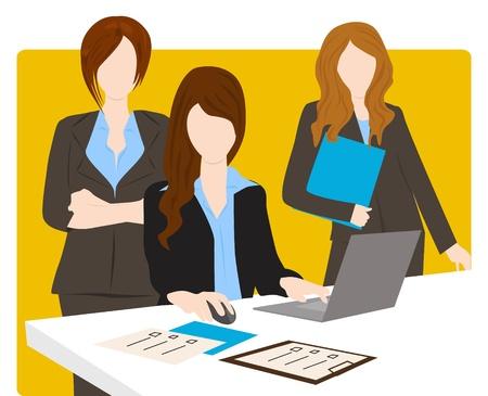 team werk van zakenvrouw