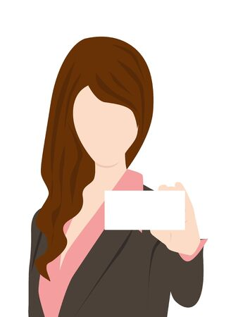 business woman holding card Stock Vector - 15840355