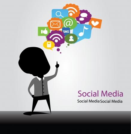social media bulb Illustration