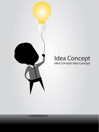 zakenman vliegen met idee