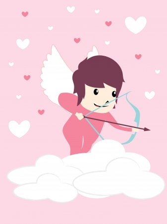 cute angel with pink background Stock Vector - 16136163