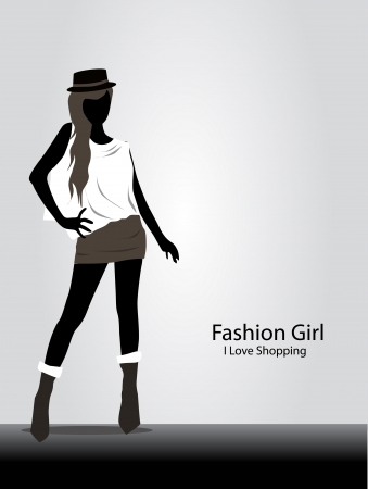 casual dress: girl with black and white fashion model Illustration