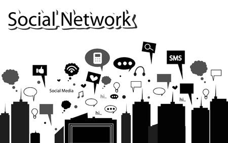 trabajo social: red social silueta de la ciudad Vectores