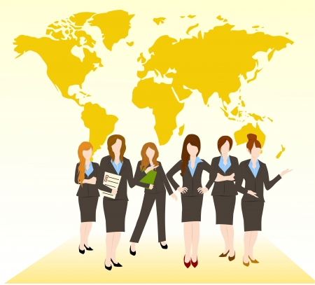 group of business woman team Stock Vector - 16136172