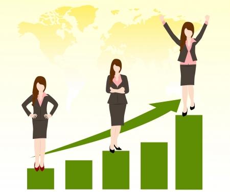 성공적인 비즈니스 차트 비즈니스 여자 일러스트