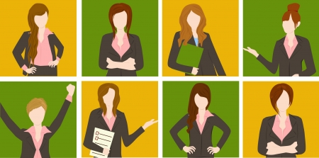 leadership development: group of business and executive woman Illustration