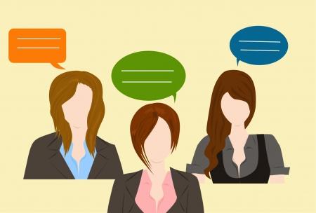 media center: woman conversation Illustration