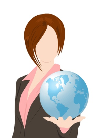 woman holding globe Vector