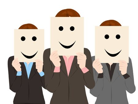 group of business woman holding cardboard smile Vector