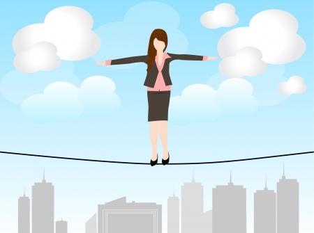 비즈니스 여자가 서서 위험