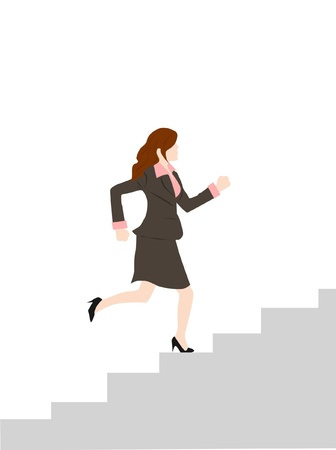 woman run on stairs - success concept
