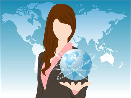 hand holding globe: woman holding the globe connection concept Illustration
