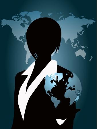 vrouw met globe-aansluiting Stock Illustratie