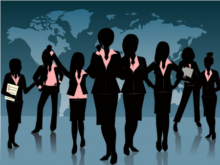 group of business woman silhouette background