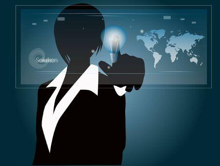 woman press solution touchscreen Illustration