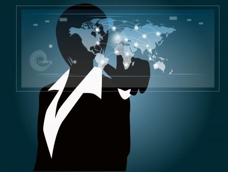 hand press: woman press the screen - social network Illustration