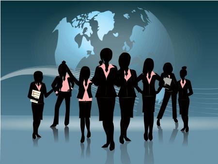 groep van zakelijke vrouw silhouet globe achtergrond afbeelding Stock Illustratie