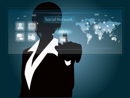 woman and social network touch screen