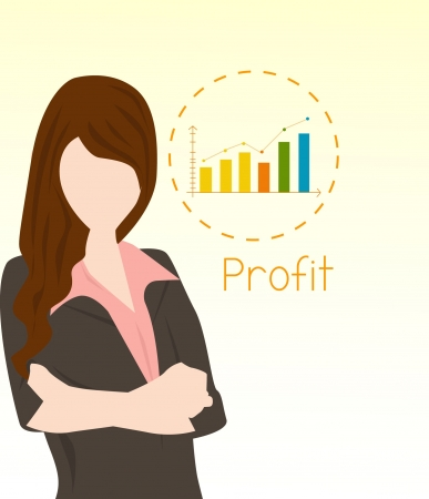 business woman and the growth Stock Vector - 16810319