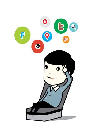 man and social network Vector