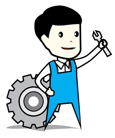 Industrial worker & wrench Illustration
