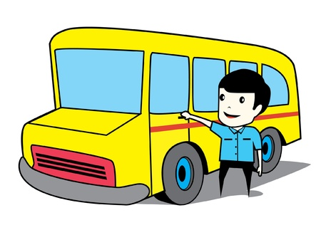 driver and school bus Vector